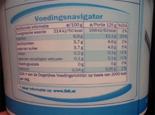 kwark eiwitten per 100 gram
