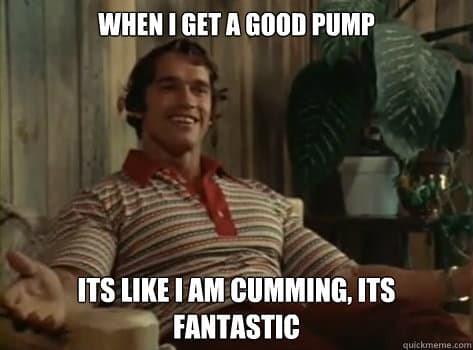 Arnold Schwarzenegger the pump is like cumming